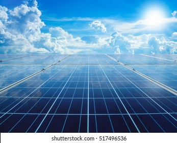 solar panels with sun and perfect sky concept