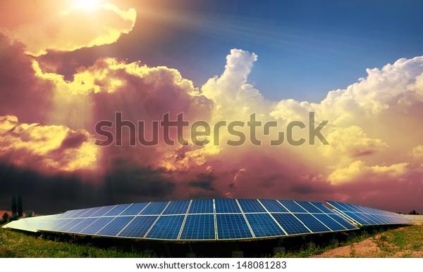 solar panels with the sunny sky