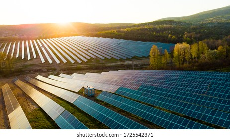 solar panels with the sunny sky. Blue solar panels. background of photovoltaic modules for renewable energy.