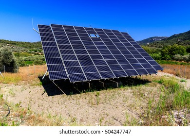 Solar panels with the sunny sky. Solar panels for renewable energy.
