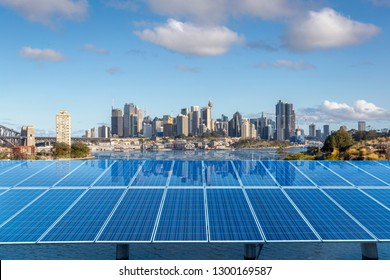 Solar panels and Sydney city
