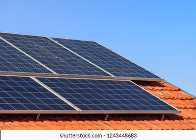 Solar panels at the top of the family house, close up.