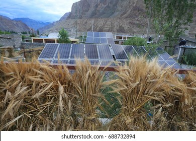 Solar panels from Turtuk village north india near pakistan