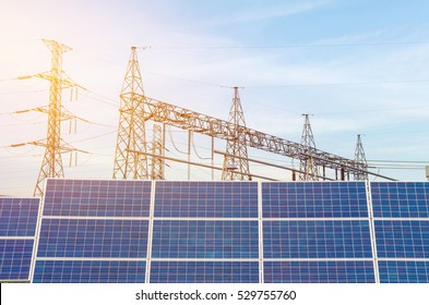Solar Panels using renewable solar energy in Power station for making Electricity.