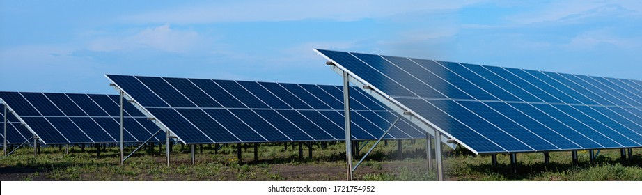 Solar panels web banner: safe and alternative energy concept.