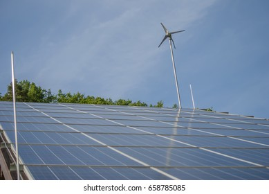 solar panels with wind generator close-up
