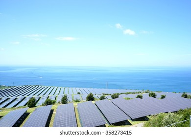 Solar panels and wind generators in Large Photovoltaic power station (solar park)
