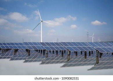 Solar panels and wind power, clean energy in nature