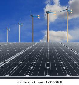 Solar panels with wind turbine