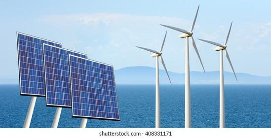 Solar panels and wind turbine on nature background