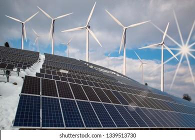 solar panels and wind turbines