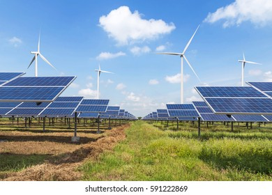 solar panels and wind turbines generating electricity in power station renewable energy from natural