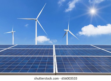 solar panels and wind turbines generating electricity in  power station alternative energy from nature  Ecology concept.