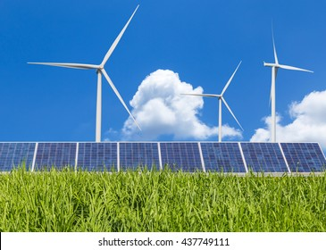 Solar panels and wind turbines green energy from nature