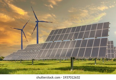 Solar panels wind turbines installed as renewable energy sources for electricity and power supply. Innovation and technology, environmental friendly energy. Solar farm under sunny day