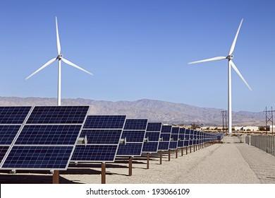 Solar Panels and Wind Turbines Power