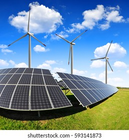 Solar panels with wind turbines. Power plant using renewable energy.