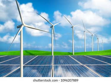 Solar panels and windmills. Concept of renewable energy technology.