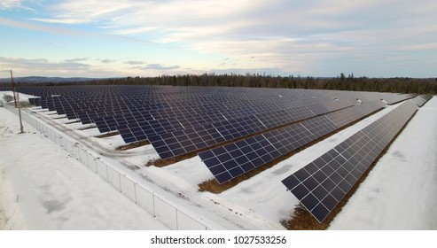Solar panels in winter late afternoon