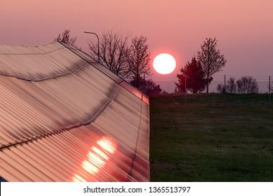 Solar park in rising sun