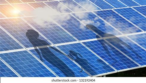 solar park sun clouds family