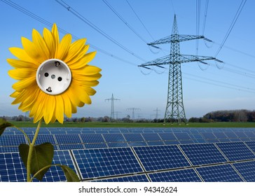 Solar park, sunflower with socket and power line