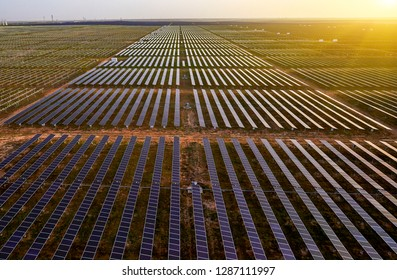 Solar photovoltaic panel in the sunset