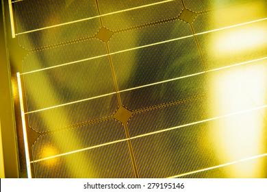 Solar photovoltaic panel under yellow bright sun - environmental conservation technique