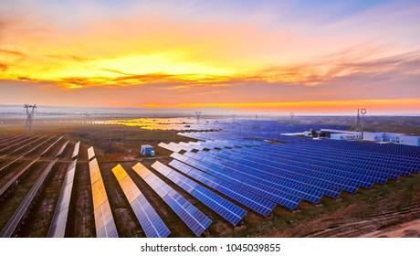 Solar photovoltaic panels at dusk