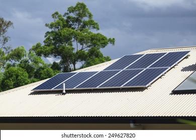 Solar photovoltaic panels installed on aluminium roof