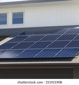 Solar photovoltaic panels installed on aluminum roof