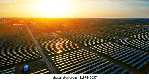 Solar photovoltaic panels in the sunset outdoors
