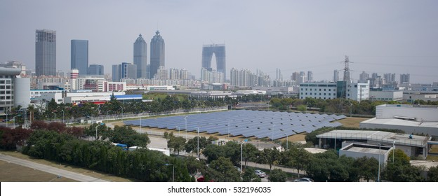 Solar photo-voltaic panels in Suzhou Industrial Park, Suzhou, China