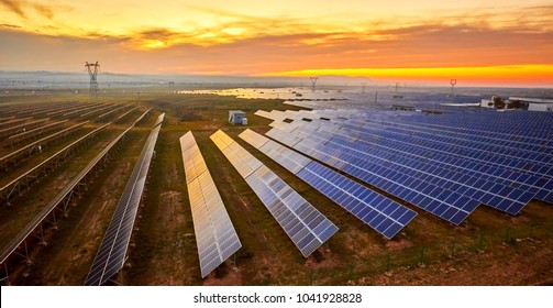 Solar photovoltaic photographed before sunrise