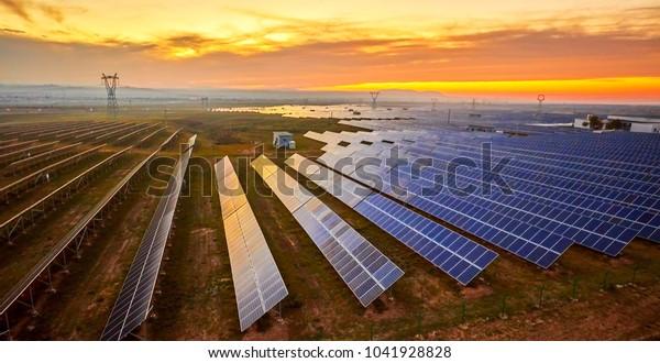 Solar photovoltaic photographed before sunrise