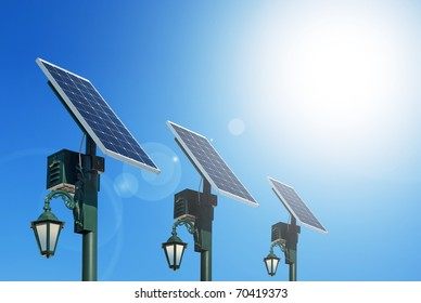 Solar photovoltaic powered lamp posts on the blue skies with sun