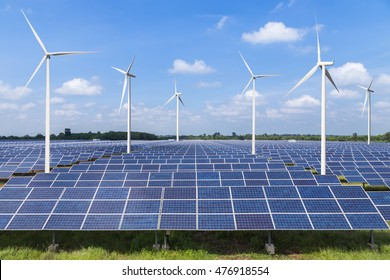 solar photovoltaics panel and wind turbines generating electricity renewable green energy