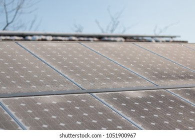 solar photovoltaics panels or solar modules in winter morning