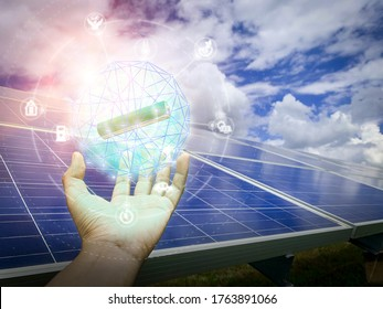 Solar plant(solar cell) with the cloud on sky, hot climate causes increased power production, Alternative energy to conserve the world's energy, Photovoltaic module idea for clean energy production.