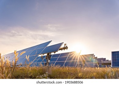 Solar plant(solar cell) with the summer season, hot climate causes increased power production, Alternative energy to conserve the world's energy, Photovoltaic module idea for clean energy production.