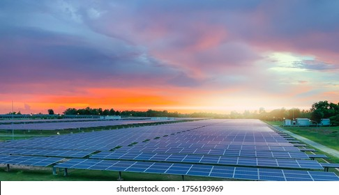Solar plant(solar cell) with sunset, hot climate causes increased power production, Alternative energy to conserve the world's energy, Photovoltaic module idea for clean energy production.