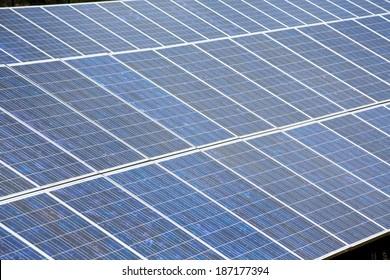 Solar plates for green sun energy in a row
