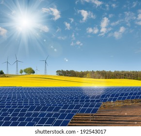 Solar power cells, rapeseed field and windmills on the horizon