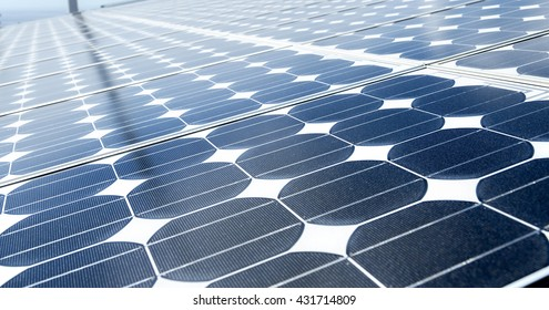 Solar power energy is clean technology from the sun for protect ecology .This is a big solar plant. Many Solar panels on the roads absorb the sunlight as a source of energy to generate electricity