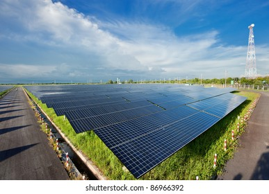 Solar power energy is clean technology from the sun for protect ecology .This is a big plant. Many Solar panels on the roads absorb the sunlight as a source of energy to generate electricity or heat.