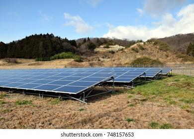 Solar power field in the farmland.