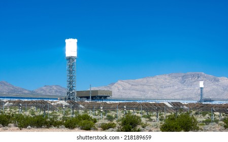 A solar power generation tower at the Ivanpah solar plant in California near the Nevada border