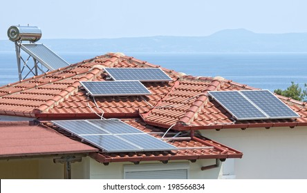 Solar power and hot water on a house