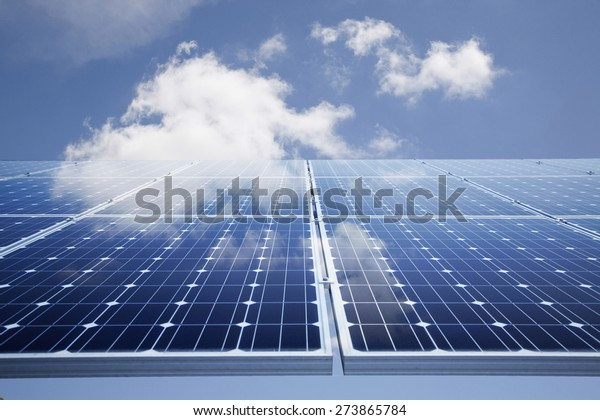 Solar power panel against blue sky
