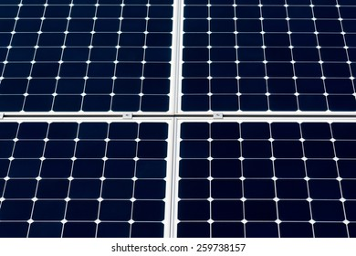 Solar power panel. Closeup view of a solar power panel to generate ecologically clean and renewable energy to feed street lamps and other devices. Deep blue background and a white grid.